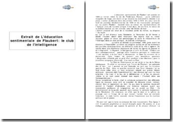 Extrait de L'éducation sentimentale de Flaubert : le Club de l'intelligence