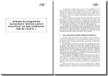 Analyse du programme humanitaire pétrole contre nourriture en Irak (résolution 986 de l'O.N.U.)
