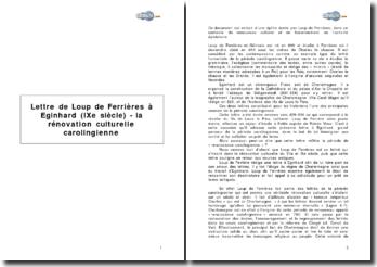Lettre de Loup de Ferrières à Eginhard (IXe siècle) - la rénovation culturelle carolingienne