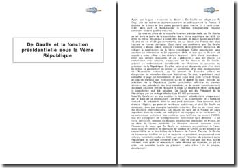 De Gaulle et la fonction présidentielle sous la Vème République