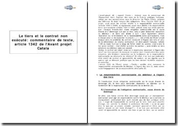 Le tiers et le contrat non exécuté : article 1342 de l'Avant projet Catala