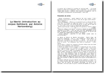 La liberté : introduction au Corpus Gallimard, par Antoine Hartzenberg