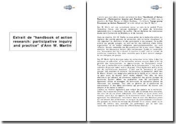 Extrait de handbook of action research : participative inquiry and practice (manuel de la recherche-action : enquête participative et pratique) d'Ann W. Martin
