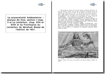 La souveraineté hobbesienne : analyse De Cive, section I chap. V ; Le Léviathan, chap. XVII et XVIII et Frontispice du Léviathan de Abraham Bosse de l'édition de 1651