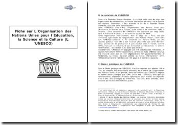 Synthèse sur L'Organisation des Nations Unies pour l'Education, la Science et la Culture (UNESCO)