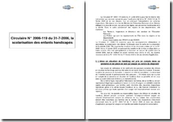Circulaire Nº 2006-119 du 31-7-2006 - la scolarisation des enfants handicapés