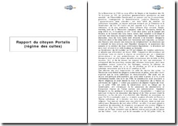 Rapport du citoyen Portalis sur le régime des cultes : le Concordat de 1801