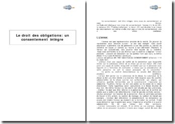 Le droit des obligations : un consentement intègre