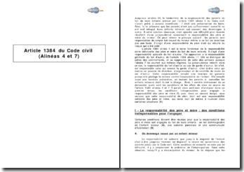 Article 1384 du Code civil (alinéas 4 et 7) - responsabilité des parents du fait de leurs enfants mineurs