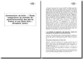 « Etude comparative du contrôle de constitutionnalité des lois en France et aux Etats-Unis » d'Elizabeth Zoller