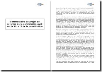 Projet de réforme de la commission Avril sur le titre IX de la constitution, sur l'irresponsabilité du président en fonction