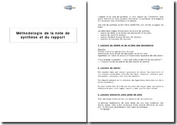 Méthodologie de la note de synthèse et du rapport