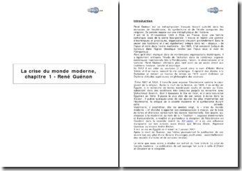 René Guénon, La crise du monde moderne (chapitre 1)