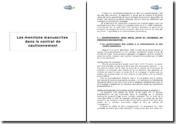 Les mentions manuscrites dans le contrat de cautionnement (plan détaillé)