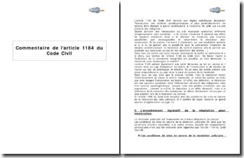 Article 1184 du Code Civil - inexécution des contrats synallagmatiques