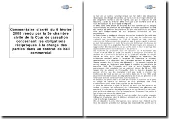 Troisième chambre civile de la Cour de cassation, 9 février 2005 - les obligations réciproques à la charge des parties dans un contrat de bail commercial