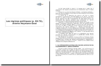 Les régimes politiques (p. 69-70), Arlette Heymann-Doat