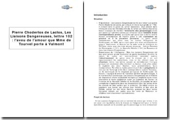 Pierre Choderlos de Laclos, Les Liaisons Dangereuses, lettre 102 : l'aveu de l'amour que Mme de Tourvel porte à Valmont
