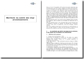 Manifeste du comité des vingt arrondissements (mars 1871)