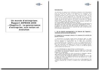 Un monde d'entreprises, rapport ANTEIOS 2009, Chapitre 6 : La gouvernance d'entreprise, une notion en évolution