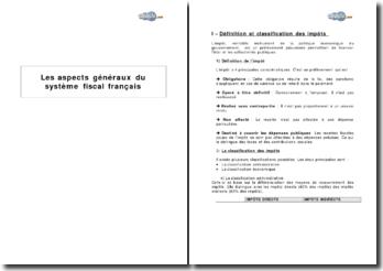 Les aspects généraux du système fiscal français
