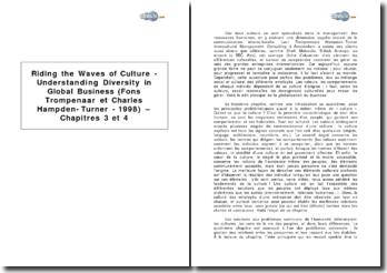 Riding the Waves of Culture - Understanding Diversity in Global Business (surfer sur les vagues de la culture - comprendre la diversité dans une entreprise globale) de Fons Trompenaar et Charles Hampden-Turner, 1998 - chapitres 3 et 4