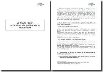 La Haute Cour et la Cour de justice de la République