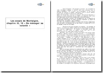 Les Essais de Montaigne, chapitre III, 10 « De ménager sa volonté »