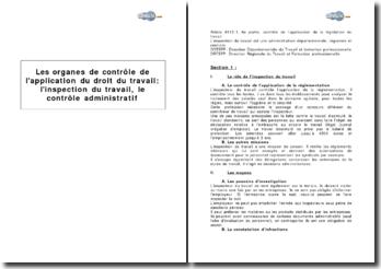 Les organes de contrôle de l'application du droit du travail: l'inspection du travail, le contrôle administratif