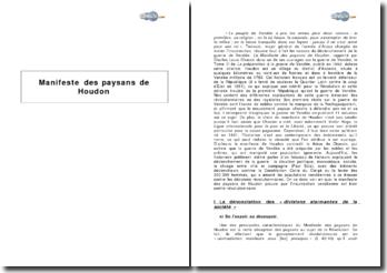 Manifeste des paysans de Houdon, rapporté par l'historien Charles-Louis Chassin - la guerre de Vendée
