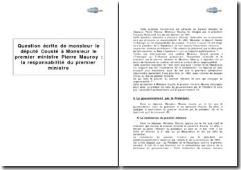 Question écrite de monsieur le député Cousté à Monsieur le premier Ministre Pierre Mauroy : la responsabilité du premier ministre
