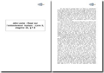 John Locke, Essai sur l'entendement humain; livre II, chapitre 23, 7-8