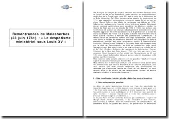 Remontrances de Malesherbes (23 juin 1761) : « le despotisme ministériel sous Louis XV »