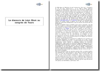 Le discours de Léon Blum au congrès de Tours (1920) - la scission de la SFIO