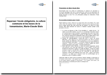 Repenser l'école obligatoire, la culture commune et les bases de la transmission, Marie-Claude Blais