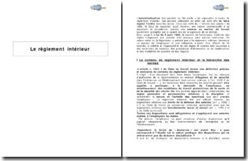Contenu et procédures d'élaboration du règlement intérieur (2009)