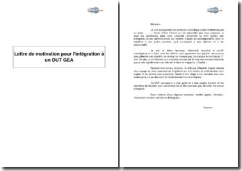 Candidature pour l'intégration à un DUT GEA (gestion des entreprises et des administrations)