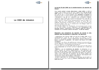 Le CDD (contrat à durée déterminée) de mission