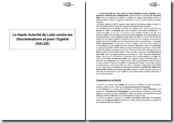 La Haute Autorité de Lutte contre les Discriminations et pour l'Egalité (HALDE) - organisation, rôle et mission
