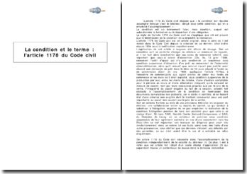 La condition et le terme : l'article 1178 du Code civil