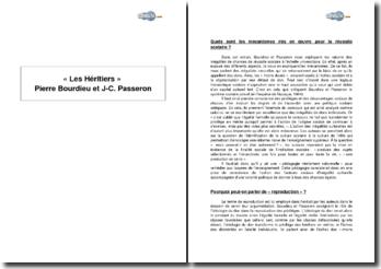 Extrait de « Les Héritiers » Pierre Bourdieu et Jean-Claude Passeron