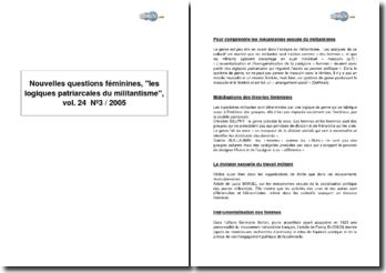 Nouvelles questions féminines, les logiques patriarcales du militantisme, vol. 24 N 3 / 2005