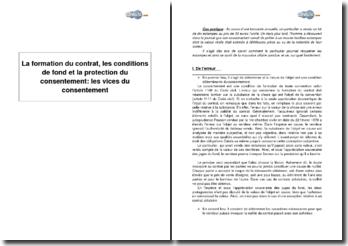 La formation du contrat, les conditions de fond et la protection du consentement : les vices du consentement
