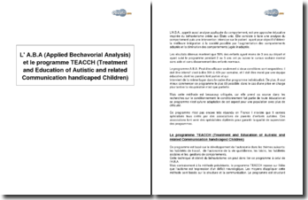 L' A.B.A (Applied Bechavorial Analysis) et le programme TEACCH (Treatment and Education of Autistic and related Communication handicaped Children)