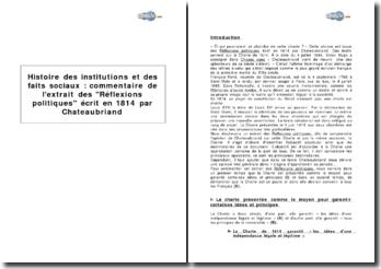 Histoire des institutions et des faits sociaux : extrait des Réflexions politiques, écrit en 1814 par Chateaubriand