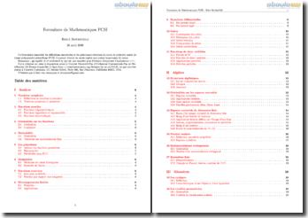Formulaire de Mathématiques PCSI (première année de classe préparatoire scientifique)