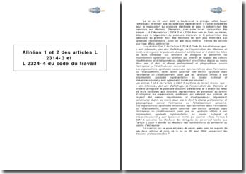 Alinéas 1 et 2 des articles L 2314-3 et L 2324-4 du Code du travail : la négociation du protocole électoral de délégués du personnel