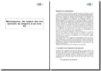 Montesquieu, De l'esprit des lois - extraits du chapitre 6 du livre XI