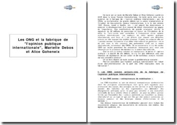 Les ONG et la fabrique de l'opinion publique internationale, Marielle Debos et Alice Goheneix