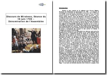 Discours de Mirabeau, séance du 16 juin 1789 - Dénomination de l'Assemblée